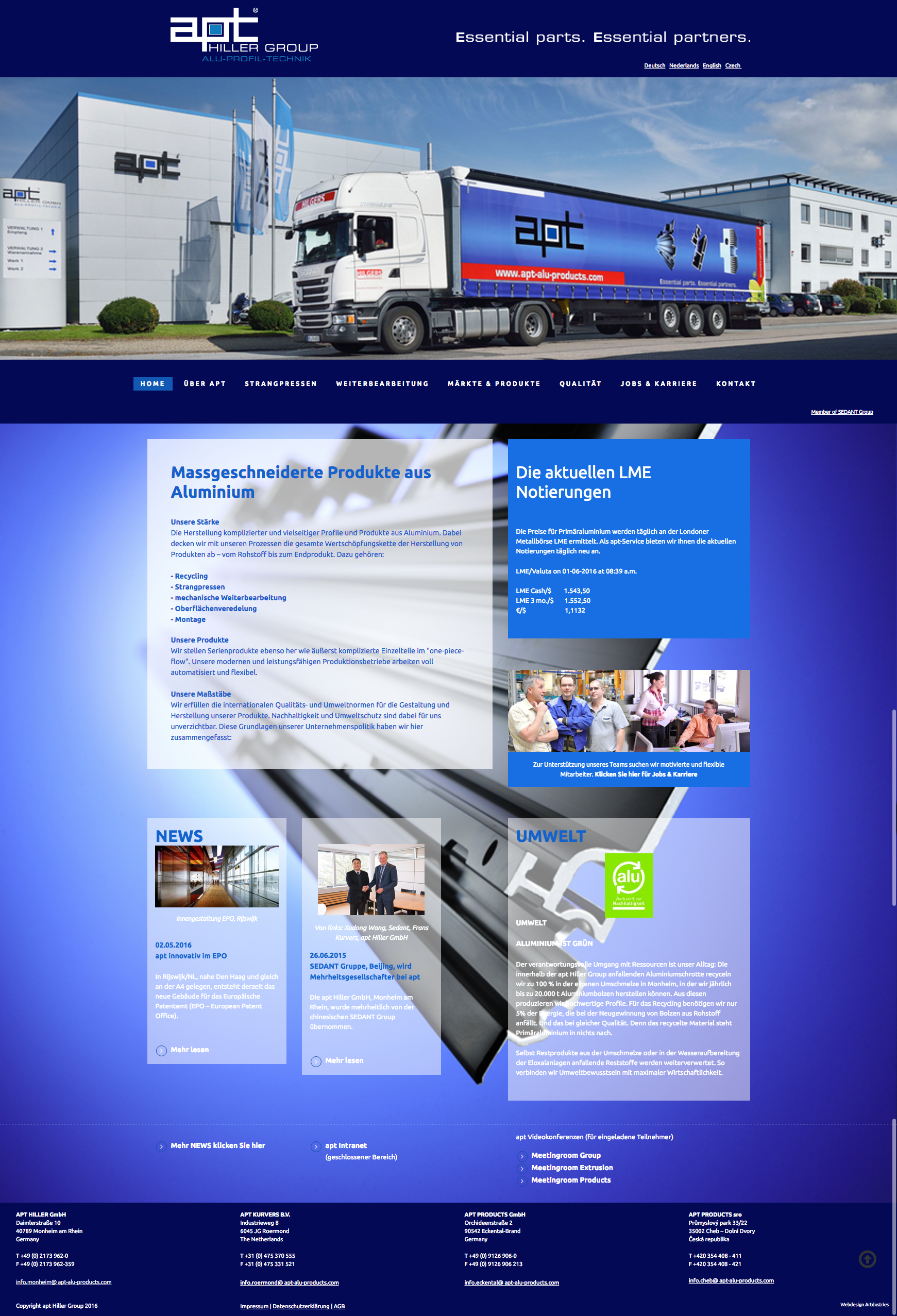 Full responsive website apt alu products