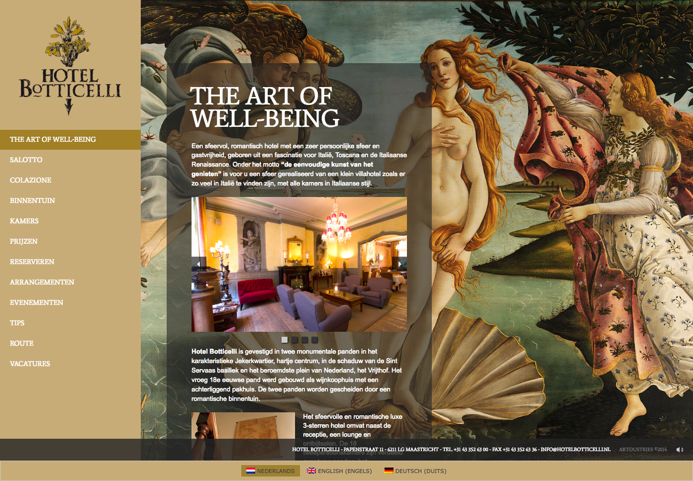Website Hotel Botticelli Maastricht